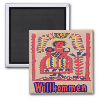 German Welcome Folk  Mother and Child Magnet