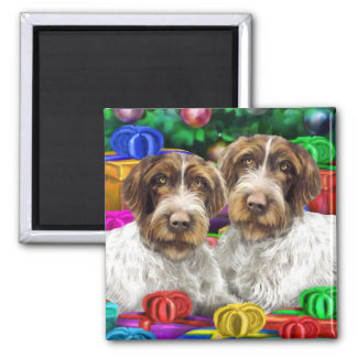 German WH Pointer Open Gifts Christmas 2 Inch Square Magnet
