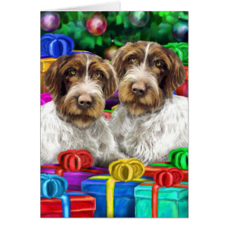 German WH Pointer Open Gifts Christmas Greeting Card