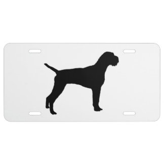 German wire-haired Pointer dog Silhouette License Plate