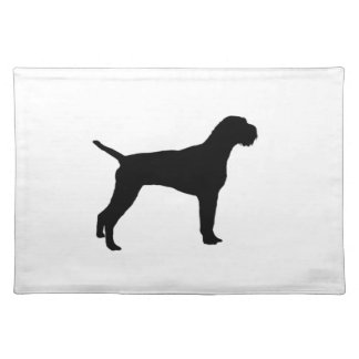German wire-haired Pointer dog Silhouette Place Mat