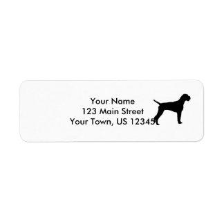 German wire-haired Pointer dog Silhouette Return Address Label