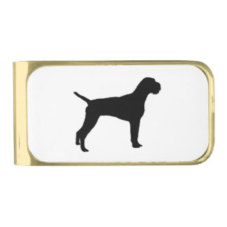 German Wire-Haired Pointer Silhouette Love Dogs Gold Finish Money Clip