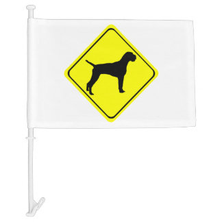 German Wire-Haired Pointer Warning Sign Love Dogs Car Flag