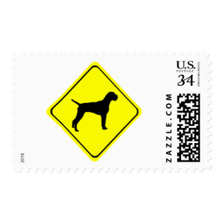 German Wire-Haired Pointer Warning Sign Love Dogs Postage
