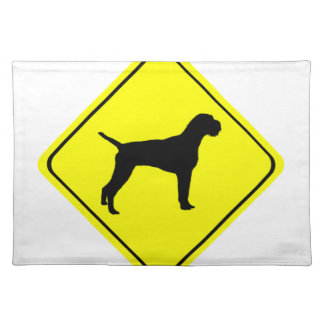 German Wired-Haired Pointer Dog Crossing Sign Placemats