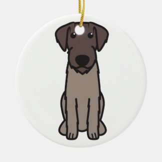 German Wirehaired Pointer Dog Cartoon Double-Sided Ceramic Round Christmas Ornament