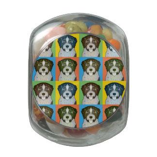 German Wirehaired Pointer Dog Cartoon Pop-Art Glass Candy Jar