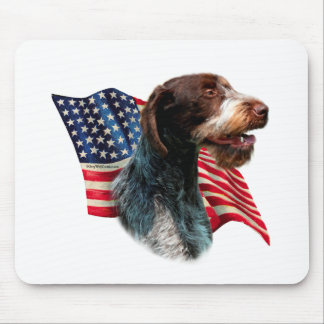 German Wirehaired Pointer Flag Mouse Pad