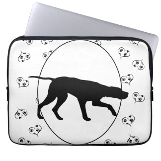 German Wirehaired Pointer Hearts and Paw Prints Computer Sleeve