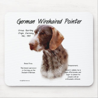 German Wirehaired Pointer History Design Mouse Pads