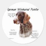German Wirehaired Pointer History Design Round Sticker