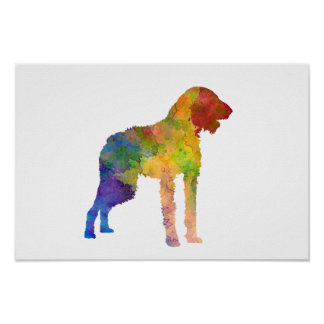 German Wirehaired Pointer in watercolor Poster