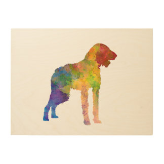 German Wirehaired Pointer in watercolor Wood Wall Art
