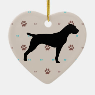 German Wirehaired Pointer Double-Sided Heart Ceramic Christmas Ornament