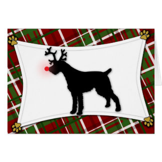 German Wirehaired Pointer Reindeer Christmas Card
