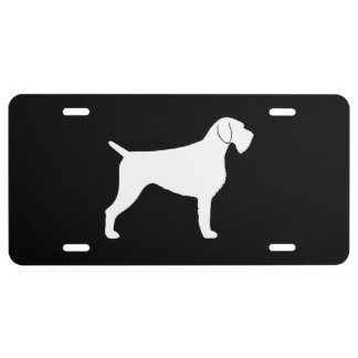 German Wirehaired Pointer Silhouette License Plate