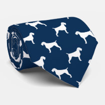 German Wirehaired Pointer Silhouettes Pattern Neck Tie