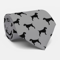 German Wirehaired Pointer Silhouettes Pattern Tie
