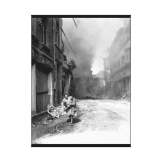 German woman carrying a few_War Image Canvas Print