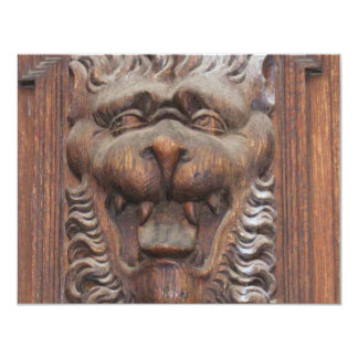 German WOOD CARVING - LION Medieval architecture Card