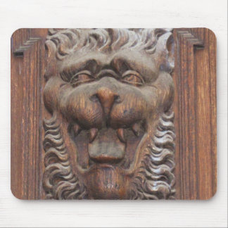 German WOOD CARVING - LION Medieval architecture Mousepads