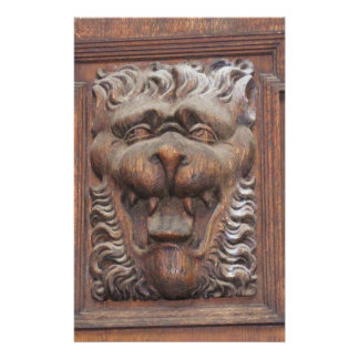 German WOOD CARVING - LION Medieval architecture Stationery