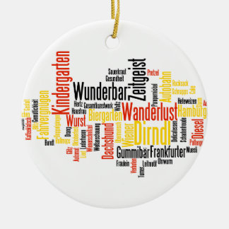 German Word Cloud - Deutsche Wortwolke Double-Sided Ceramic Round Christmas Ornament