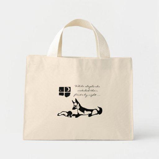 Germand Shepherd and Baby - Christmas Tote Tote Bags