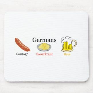 Germans: sausage, sauerkraut, beer mouse pad
