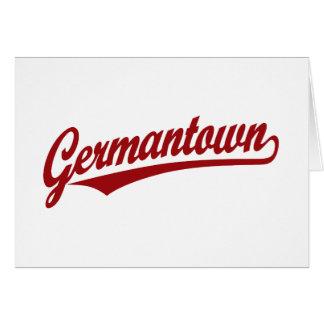 Germantown script logo in red card