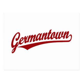 Germantown script logo in red postcard