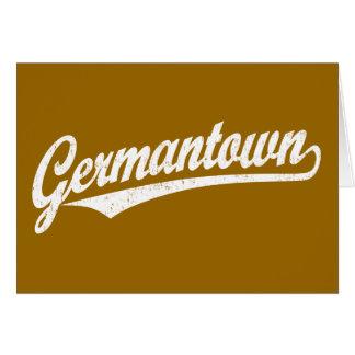 Germantown script logo in white distressed card