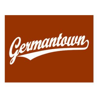 Germantown script logo in white postcard