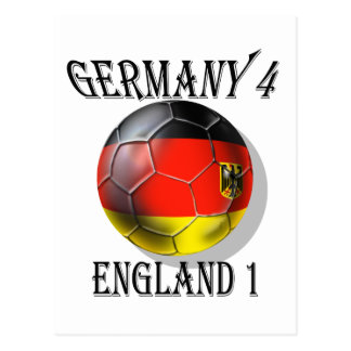 Germany 4 England 1 Soccer Football tees & gifts Postcard
