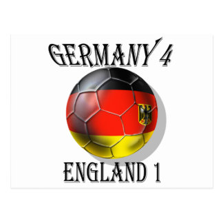 Germany 4 England 1 Soccer Football tees & gifts Post Cards