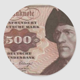 Germany 500 Mark Note Round Stickers