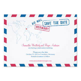 Germany Air Mail Wedding Save The Date 5x7 Paper Invitation Card