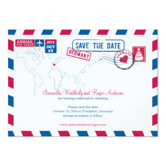 Germany Air Mail Wedding Save The Date Announcements