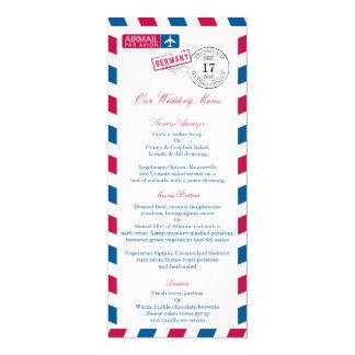 Germany Airmail Wedding Reception Menu Card