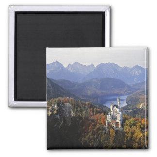 Germany, Bavaria, Neuschwanstein Castle. King 2 Inch Square Magnet