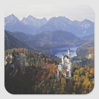 Germany, Bavaria, Neuschwanstein Castle. King Square Sticker