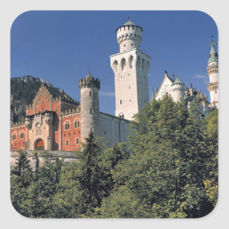 Germany, Bavaria, Neuschwanstein Castle. Square Sticker