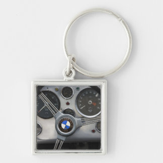 Germany, Bayern-Bavaria, Munich. BMW Welt Car Silver-Colored Square Keychain