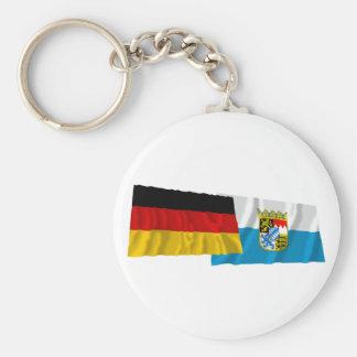Germany & Bayern Waving Flags (Bavaria) Keychain