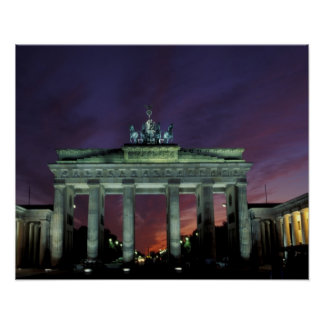 Germany, Berlin. Brandenburg Gate at night. Poster