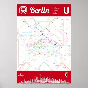 Berlin Subway Map Poster.Germany Berlin Underground Metro Map Poster