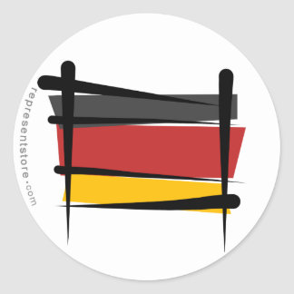 Germany Brush Flag Classic Round Sticker