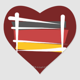 Germany Brush Flag Heart Sticker