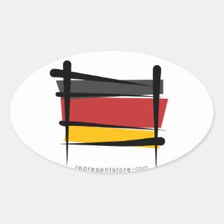 Germany Brush Flag Oval Sticker